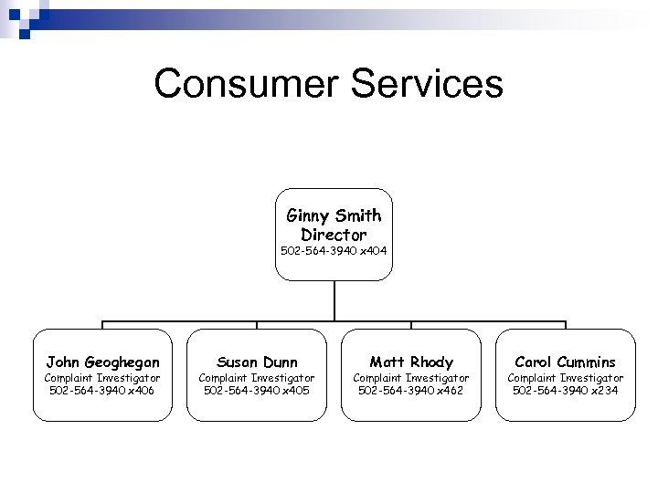Consumer Services Ginny Smith Director 502 -564 -3940 x 404 John Geoghegan Complaint Investigator