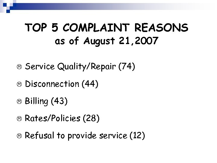 TOP 5 COMPLAINT REASONS as of August 21, 2007 L Service Quality/Repair (74) L