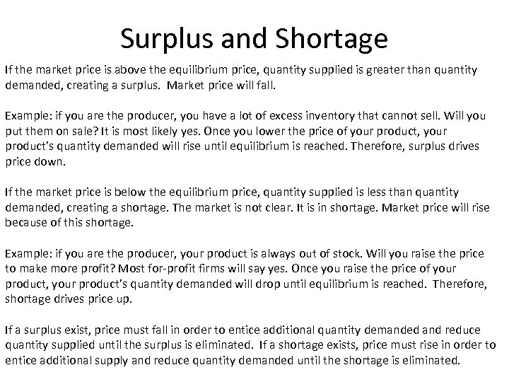 Surplus and Shortage If the market price is above the equilibrium price, quantity supplied