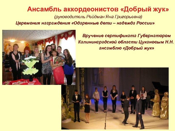 Ансамбль аккордеонистов «Добрый жук» (руководитель Рейдман Яна Григорьевна) Церемония награждения «Одаренные дети – надежда