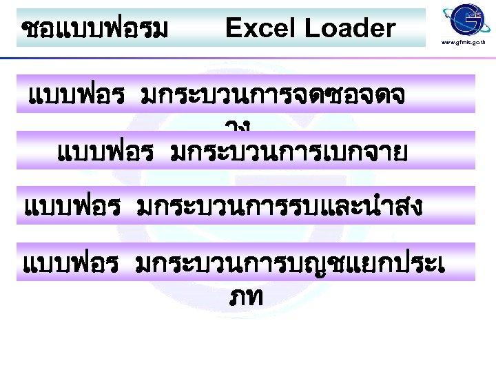 ชอแบบฟอรม Excel Loader www. gfmis. go. th แบบฟอร มกระบวนการจดซอจดจ าง แบบฟอร มกระบวนการเบกจาย แบบฟอร มกระบวนการรบและนำสง