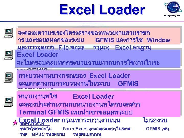 Excel Loader www. gfmis. go. th จะตองมความรเรองโครงสรางของหนวยงานสวนราชก าร และขอมลหลกของระบบ GFMIS และการใช Window และการจดการ File