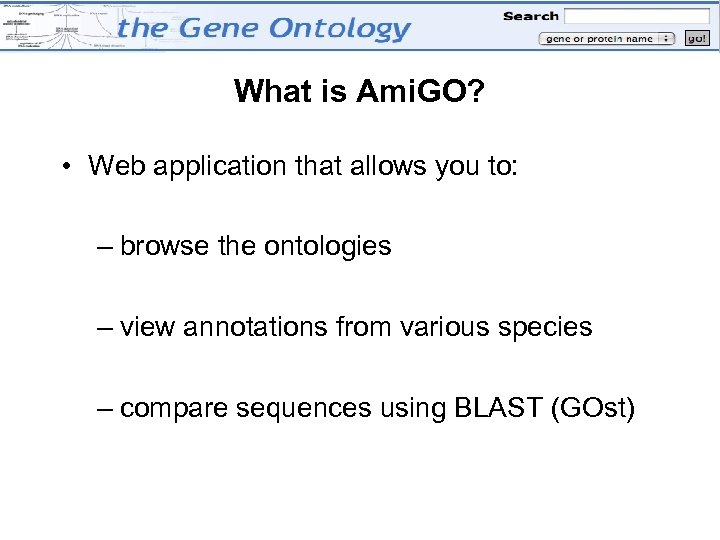 What is Ami. GO? • Web application that allows you to: – browse the
