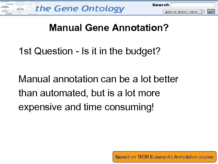 Manual Gene Annotation? 1 st Question - Is it in the budget? Manual annotation
