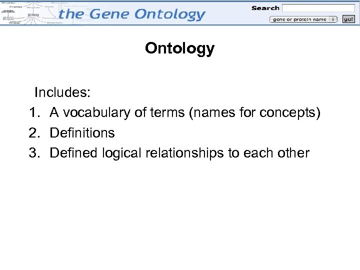 Ontology Includes: 1. A vocabulary of terms (names for concepts) 2. Definitions 3. Defined