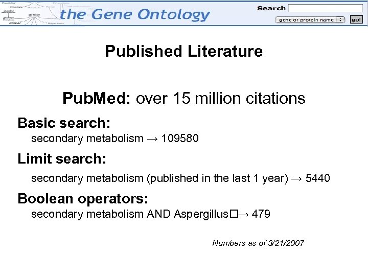 Published Literature Pub. Med: over 15 million citations Basic search: secondary metabolism → 109580