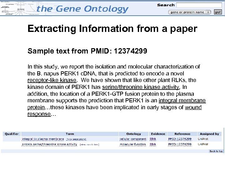 Extracting Information from a paper Sample text from PMID: 12374299 In this study, we