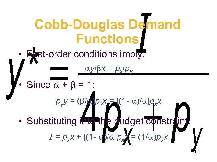 Cobb-Douglas Demand Functions • First-order conditions imply: y/ x = px/py • Since +