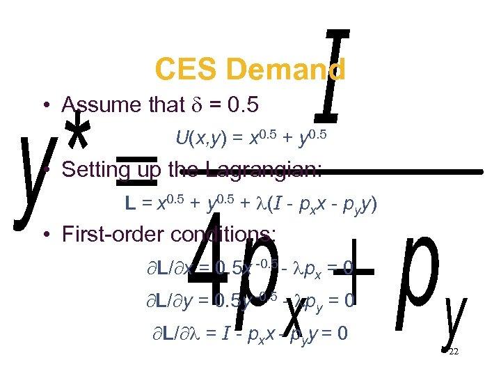 CES Demand • Assume that = 0. 5 U(x, y) = x 0. 5