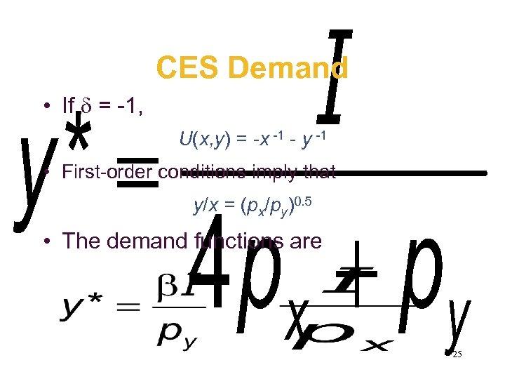 CES Demand • If = -1, U(x, y) = -x -1 - y -1