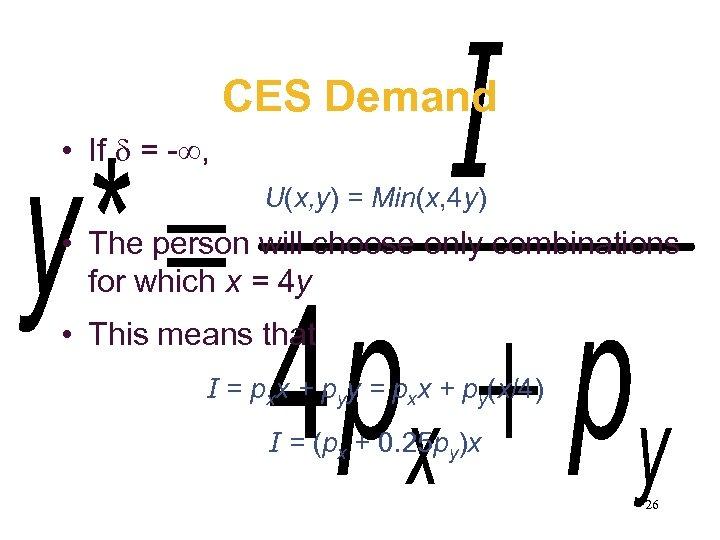 CES Demand • If = - , U(x, y) = Min(x, 4 y) •
