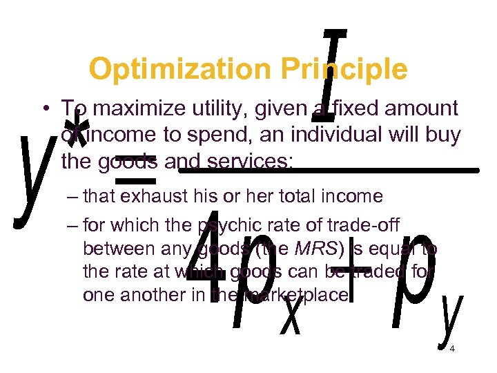 Optimization Principle • To maximize utility, given a fixed amount of income to spend,