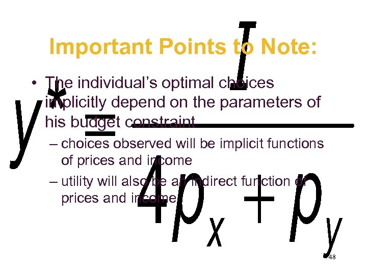 Important Points to Note: • The individual's optimal choices implicitly depend on the parameters