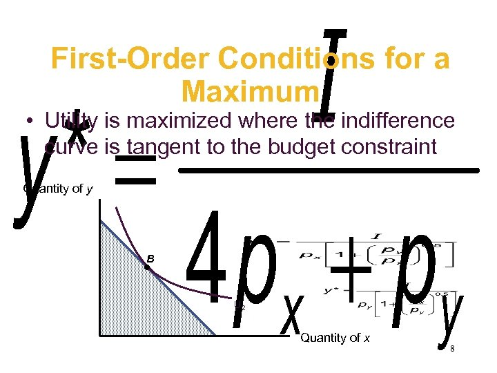 First-Order Conditions for a Maximum • Utility is maximized where the indifference curve is
