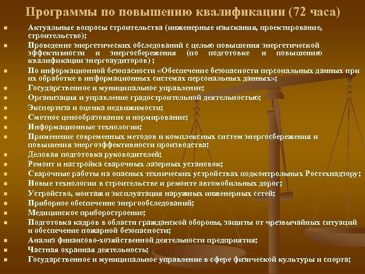 Программы по повышению квалификации (72 часа) n n n n n Актуальные вопросы строительства