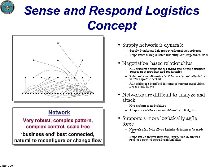 Sense and Respond Logistics Concept • Supply network is dynamic – Supply doctrine anticipates