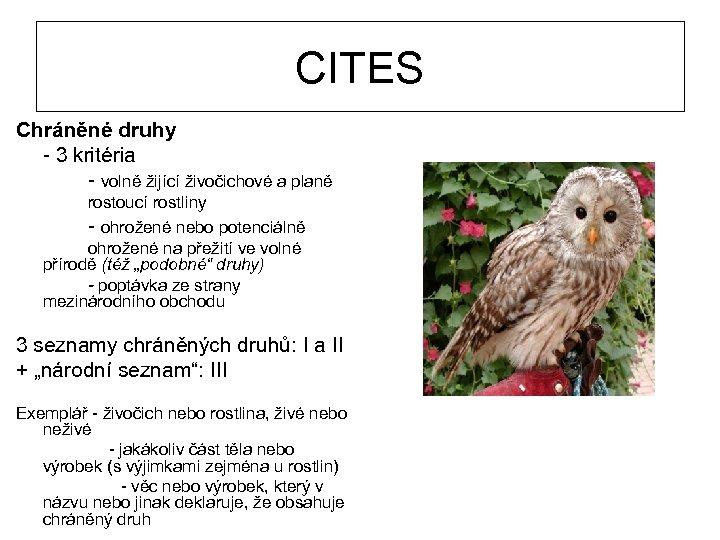 CITES Chráněné druhy - 3 kritéria - volně žijící živočichové a planě rostoucí rostliny