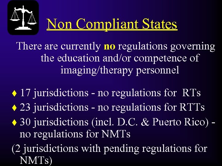 Non Compliant States There are currently no regulations governing the education and/or competence of