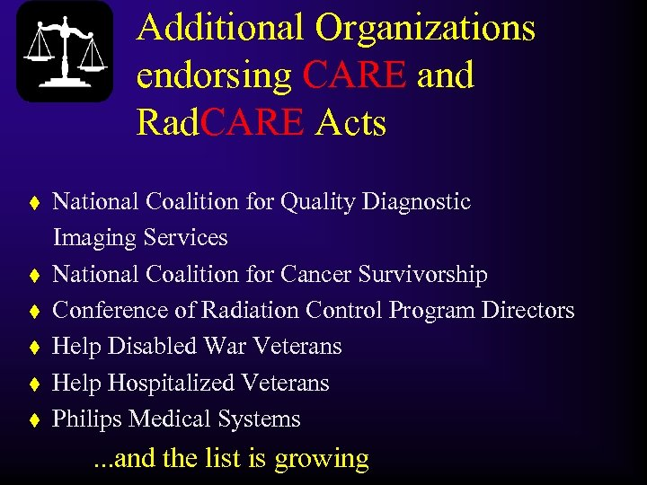 Additional Organizations endorsing CARE and Rad. CARE Acts t t t National Coalition for