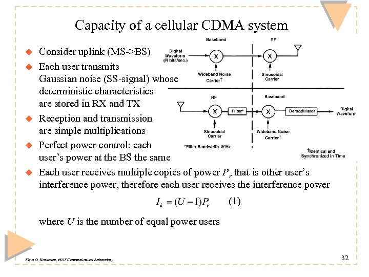 Capacity of a cellular CDMA system u u u Consider uplink (MS->BS) Each user