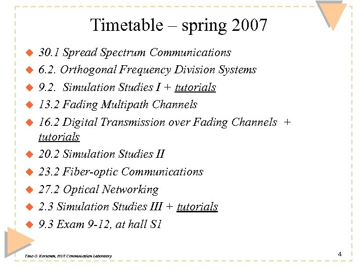 Timetable – spring 2007 u u u u u 30. 1 Spread Spectrum Communications