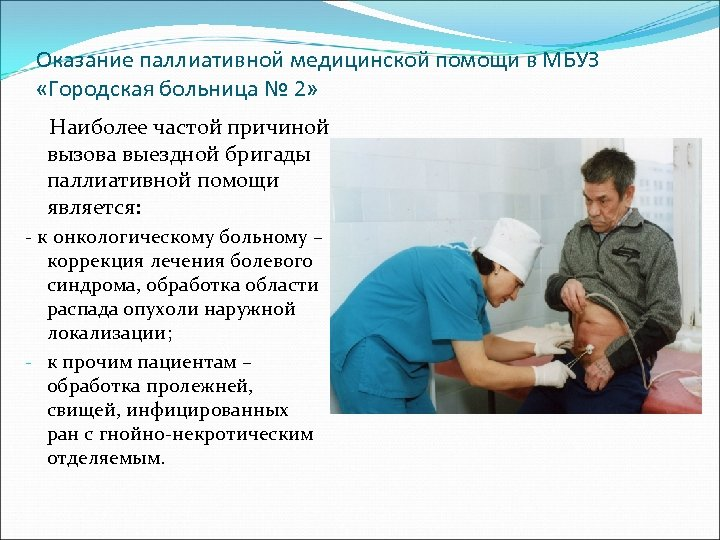 Оказание паллиативной медицинской помощи в МБУЗ «Городская больница № 2» Наиболее частой причиной вызова