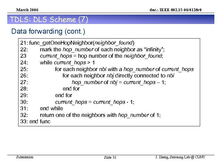 March 2006 doc. : IEEE 802. 15 -06/0128 r 0 TDLS: DLS Scheme (7)