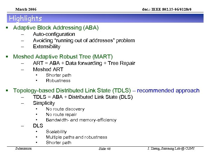 March 2006 doc. : IEEE 802. 15 -06/0128 r 0 Highlights § Adaptive Block