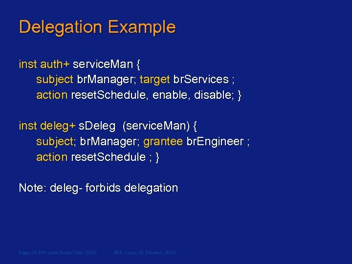 Delegation Example inst auth+ service. Man { subject br. Manager; target br. Services ;