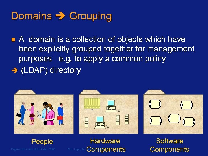 Domains Grouping A domain is a collection of objects which have been explicitly grouped