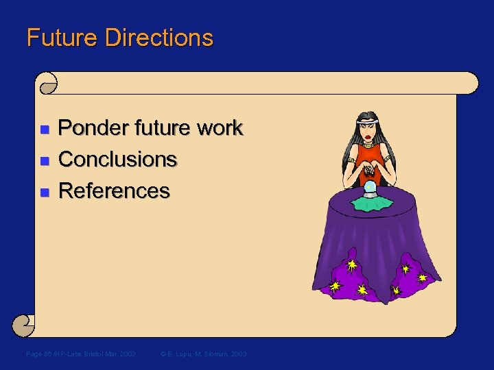 Future Directions n n n Ponder future work Conclusions References Page 86 /HP-Labs Bristol