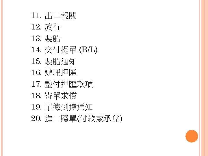 11. 出口報關 12. 放行 13. 裝船 14. 交付提單 (B/L) 15. 裝船通知 16. 辦理押匯 17.