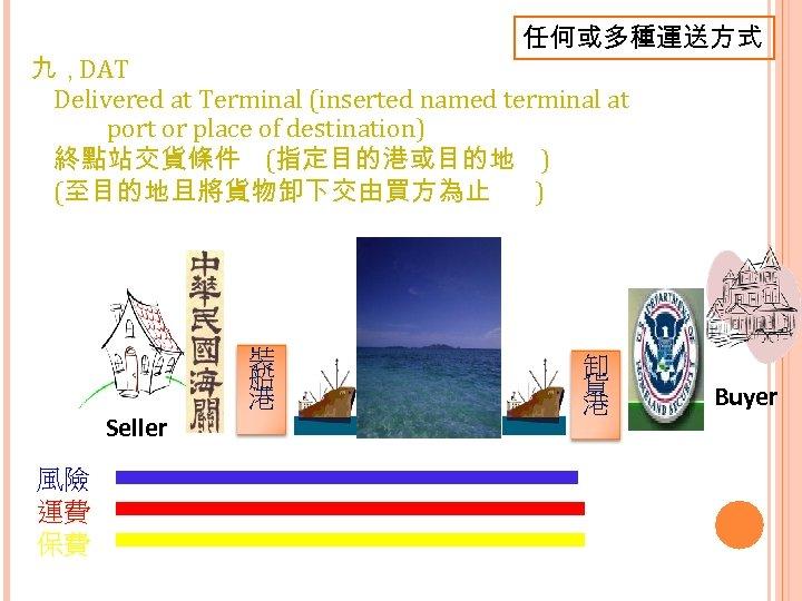 任何或多種運送方式 九,DAT Delivered at Terminal (inserted named terminal at port or place of destination)