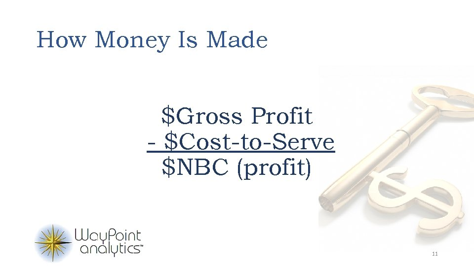 How Money Is Made $Gross Profit - $Cost-to-Serve $NBC (profit) 11