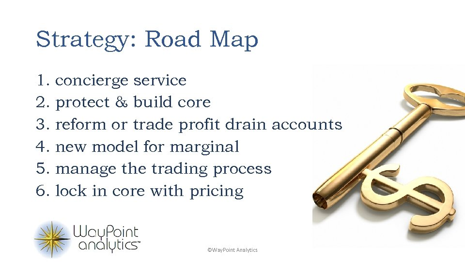 Strategy: Road Map 1. concierge service 2. protect & build core 3. reform or