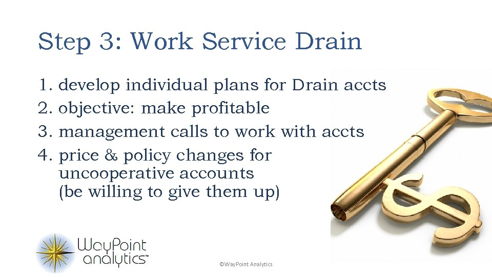 Step 3: Work Service Drain 1. develop individual plans for Drain accts 2. objective: