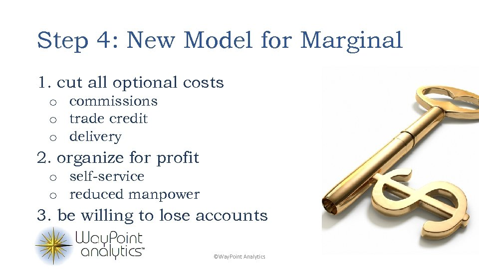 Step 4: New Model for Marginal 1. cut all optional costs o commissions o