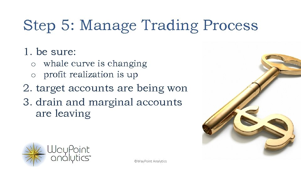 Step 5: Manage Trading Process 1. be sure: o whale curve is changing o