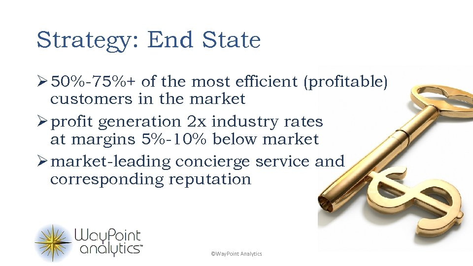 Strategy: End State Ø 50%-75%+ of the most efficient (profitable) customers in the market