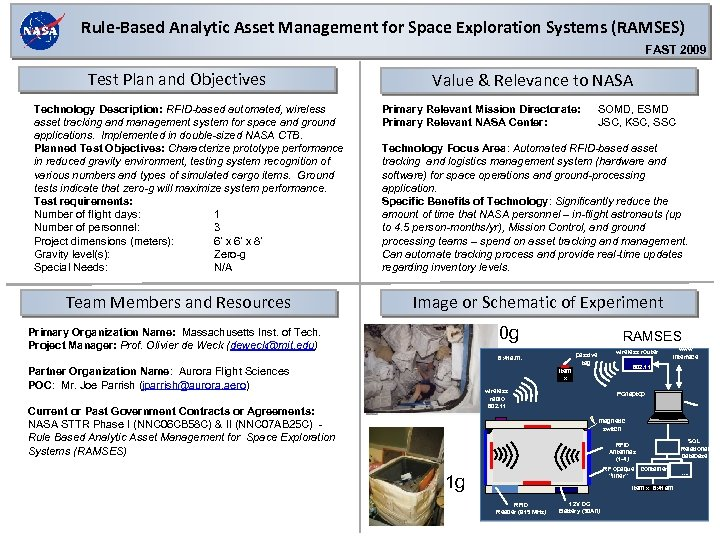 Rule-Based Analytic Asset Management for Space Exploration Systems (RAMSES) FAST 2009 Test Plan and