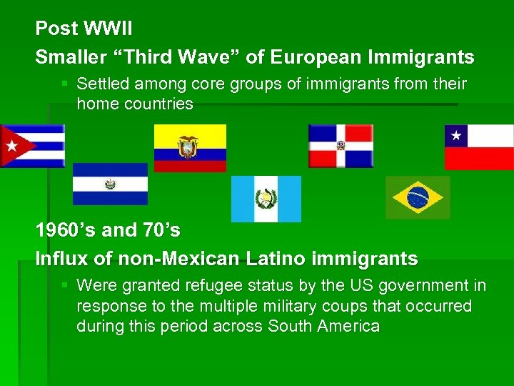 "Post WWII Smaller ""Third Wave"" of European Immigrants § Settled among core groups of"