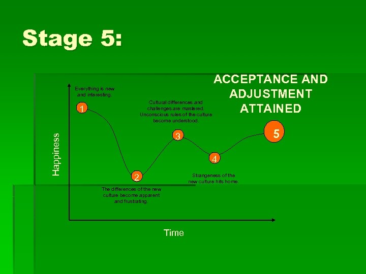 Stage 5: ACCEPTANCE AND ADJUSTMENT Cultural differences and challenges are mastered. ATTAINED Unconscious rules