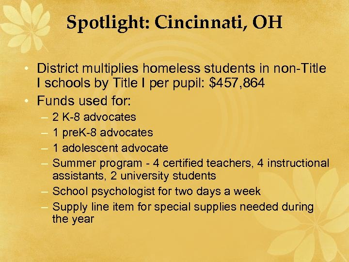 Spotlight: Cincinnati, OH • District multiplies homeless students in non-Title I schools by Title