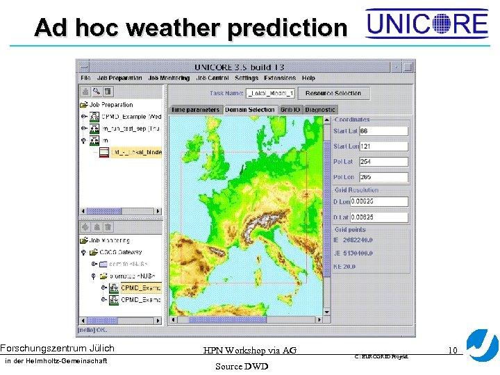 Ad hoc weather prediction Forschungszentrum Jülich in der Helmholtz-Gemeinschaft HPN Workshop via AG Source
