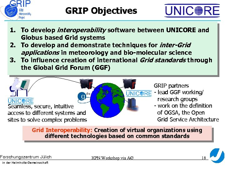 GRIP Objectives 1. To develop interoperability software between UNICORE and Globus based Grid systems