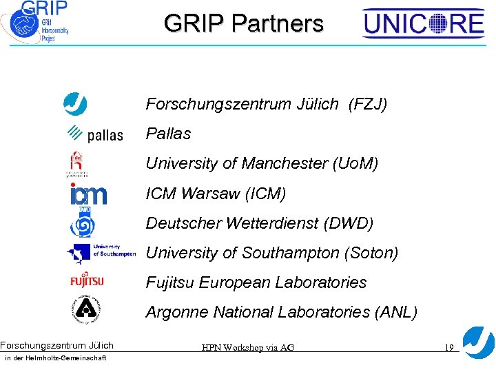 GRIP Partners Forschungszentrum Jülich (FZJ) Pallas University of Manchester (Uo. M) ICM Warsaw (ICM)