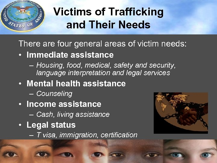 methods of trafficking and counters Guide to ethics and human rights in counter-trafficking 5 in 2003, the world health organization published a set of ten guidelines for interviewing trafficked women1these.