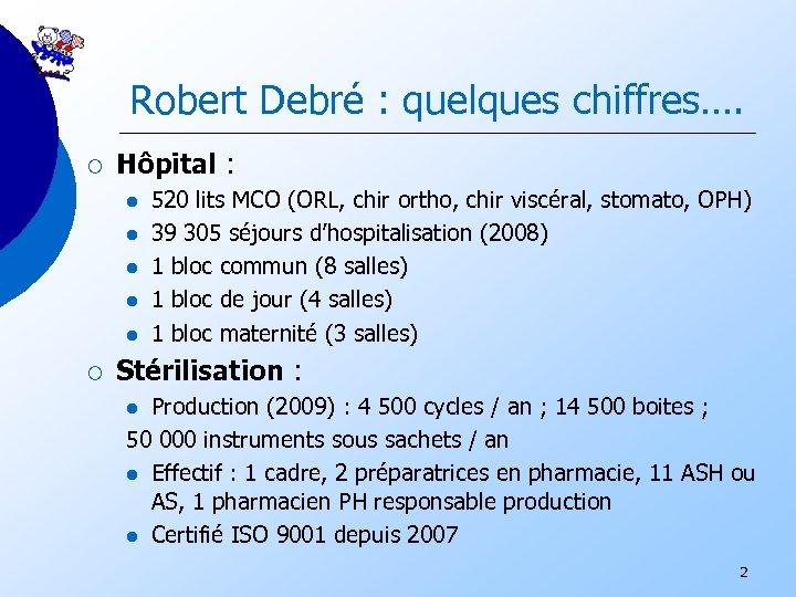 Robert Debré : quelques chiffres…. ¡ Hôpital : l l l ¡ 520 lits