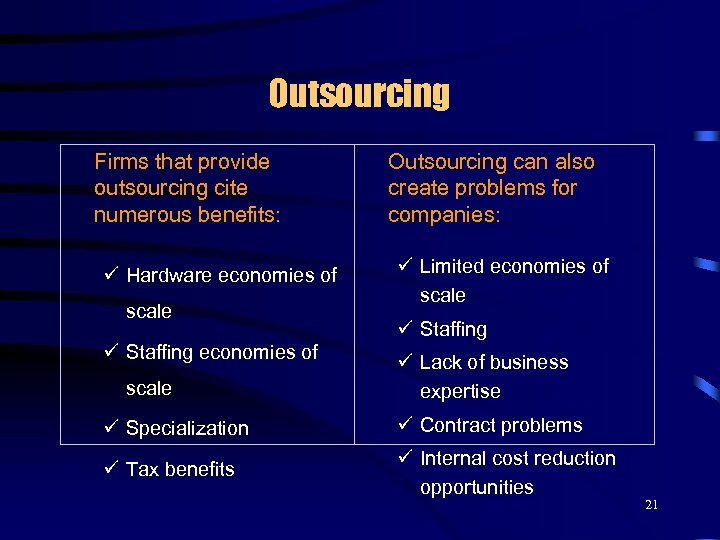 Outsourcing Firms that provide outsourcing cite numerous benefits: ü Hardware economies of scale ü
