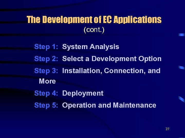 The Development of EC Applications (cont. ) Step 1: System Analysis Step 2: Select